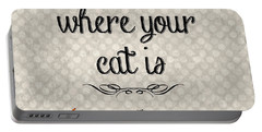 Home Is Where Your Cat Is-jp3040 Portable Battery Charger by Jean Plout