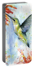 Hummingbird And Red Flower Watercolor Portable Battery Charger by Olga Shvartsur