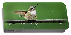 Hummingbird In The Rain Portable Battery Charger by Christina Rollo