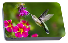 Hummingbird With Flower Portable Battery Charger by Christina Rollo