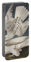 Iceland Falcon Or Jer Falcon Portable Battery Charger by John James Audubon