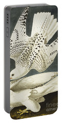 Iceland Or Jer Falcon Portable Battery Charger by John James Audubon