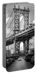 Iconic Manhattan Bw Portable Battery Charger by Az Jackson