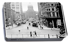Portable Battery Charger featuring the photograph Indianapolis, Indiana, Downtown Area, C. 1900, Vintage Photograp by A Gurmankin