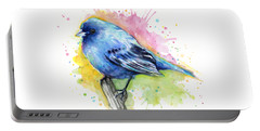 Indigo Bunting Blue Bird Watercolor Portable Battery Charger by Olga Shvartsur