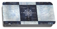 Indigo Nautical Collage Portable Battery Charger by Debbie DeWitt