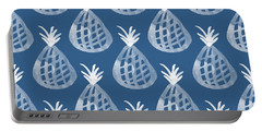 Indigo Pineapple Party Portable Battery Charger by Linda Woods