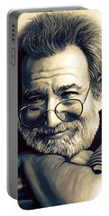 Jerry Garcia Artwork  Portable Battery Charger by Sheraz A