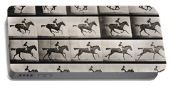 Jockey On A Galloping Horse Portable Battery Charger by Eadweard Muybridge