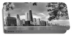 John Hancock Chicago Skyline Panorama Black And White Portable Battery Charger by Christopher Arndt