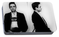 Johnny Cash Mug Shot Horizontal Portable Battery Charger by Tony Rubino