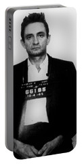 Johnny Cash Mug Shot Vertical Portable Battery Charger by Tony Rubino