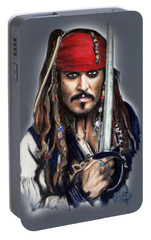 Johnny Depp As Jack Sparrow Portable Battery Charger by Melanie D