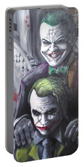 Jokery In Wayne Manor Portable Battery Charger by Tyler Haddox