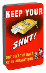 Keep Your Trap Shut -- Ww2 Propaganda Portable Battery Charger by War Is Hell Store