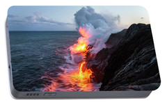 Kilauea Volcano Lava Flow Sea Entry 3- The Big Island Hawaii Portable Battery Charger by Brian Harig