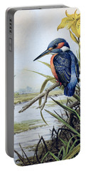 Kingfisher With Flag Iris And Windmill Portable Battery Charger by Carl Donner