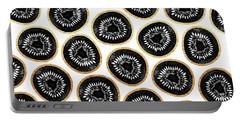 Kiwi Pattern Portable Battery Charger by Elisabeth Fredriksson