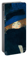 Lady With A Hat And A Feather Boa Portable Battery Charger by Gustav Klimt