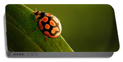 Ladybug  On Green Leaf Portable Battery Charger by Johan Swanepoel