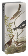 Lark Finch Prairie Finch Brown Song Sparrow Portable Battery Charger by John James Audubon