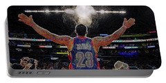 Lebron James Chalk Toss Basketball Art Landscape Painting Portable Battery Charger by Andres Ramos