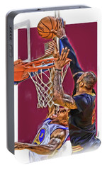 Lebron James Cleveland Cavaliers Oil Art Portable Battery Charger by Joe Hamilton
