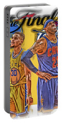 Lebron James Stephen Curry The Finals Portable Battery Charger by Joe Hamilton