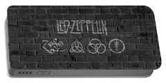 Led Zeppelin Brick Wall Portable Battery Charger by Dan Sproul