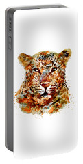 Leopard Head Watercolor Portable Battery Charger by Marian Voicu