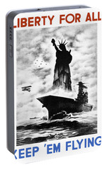 Liberty For All -- Keep 'em Flying  Portable Battery Charger by War Is Hell Store