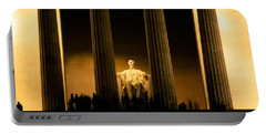 Lincoln Memorial Illuminated At Night Portable Battery Charger by Panoramic Images