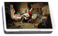 Lincoln Writing The Emancipation Proclamation Portable Battery Charger by War Is Hell Store