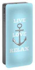Live Love Relax - Customizable Color Portable Battery Charger by Inspired Arts