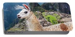 Llama At Machu Picchu Portable Battery Charger by Jess Kraft