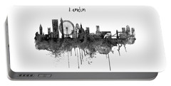 London Black And White Skyline Watercolor Portable Battery Charger by Marian Voicu