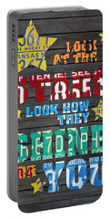 Look At The Stars Coldplay Yellow Inspired Typography Made Using Vintage Recycled License Plates Portable Battery Charger by Design Turnpike