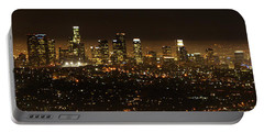 Los Angeles At Night Panorama 2 Portable Battery Charger by Bob Christopher