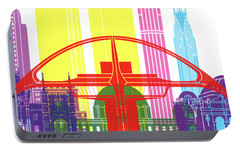 Los Angeles Skyline Pop Portable Battery Charger by Pablo Romero