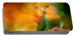 Love Among The Hibiscus Portable Battery Charger by Carol Cavalaris