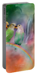 Love On A Rainbow Portable Battery Charger by Carol Cavalaris