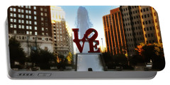 Love Park - Love Conquers All Portable Battery Charger by Bill Cannon