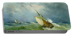 Lowestoft Trawler In Rough Weather Portable Battery Charger by John Moore