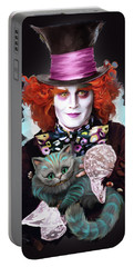 Mad Hatter And Cheshire Cat Portable Battery Charger by Melanie D