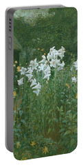 Madonna Lilies In A Garden Portable Battery Charger by Walter Crane