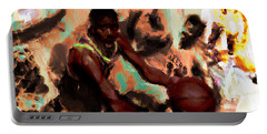 Magic Johnson In The Paint Portable Battery Charger by Brian Reaves