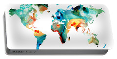 Map Of The World 11 -colorful Abstract Art Portable Battery Charger by Sharon Cummings