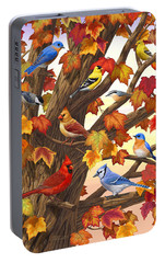 Maple Tree Marvel - Bird Painting Portable Battery Charger by Crista Forest