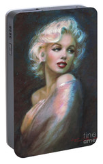 Marilyn Romantic Ww Dark Blue Portable Battery Charger by Theo Danella