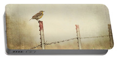 Meadowlark On A Post Portable Battery Charger by Pam  Holdsworth